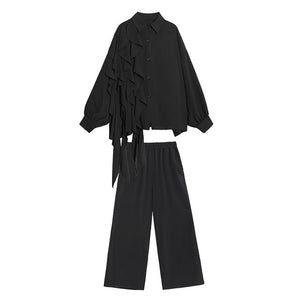 [EAM] Women Wide Leg Ruffle Two Piece Suit
