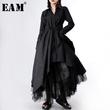 Load image into Gallery viewer, [EAM] Women Long Sleeve Button Irregular Shirt Dress