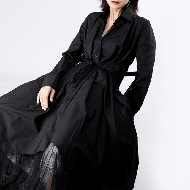 [EAM] Women Long Sleeve Button Irregular Shirt Dress
