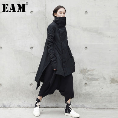 [EAM] Women Irregular Long Cotton Padded Coat