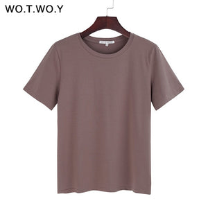 WOTWOY Summer Cotton T Shirt Women Loose Style Solid Tee Shirt Female Short Sleeve Top Tees O-Neck T-shirt Women 12 Colors