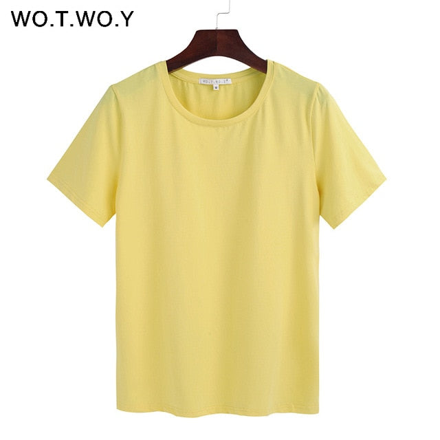 WO.T.WO.Y Short Sleeve Loose O-Neck T-shirt