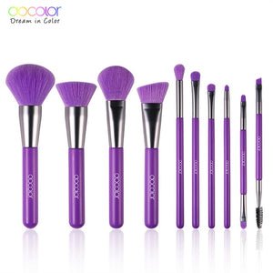 DOCOLOR 10Pcs Neon Green/Peach/Purple Professional Makeup Brushes