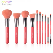 Load image into Gallery viewer, DOCOLOR 10Pcs Neon Green/Peach/Purple Professional Makeup Brushes