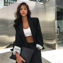 Load image into Gallery viewer, HziriP Elegant Black Single-breasted Women Blazer Fashion Vintage Solid Loose Work Wear Tops Outerwear Female Jacket