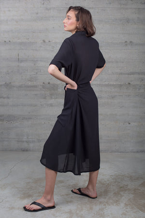 Black Long Maxi Dress with Collared Neck A line cut Black Chiffon Gathered at the waist