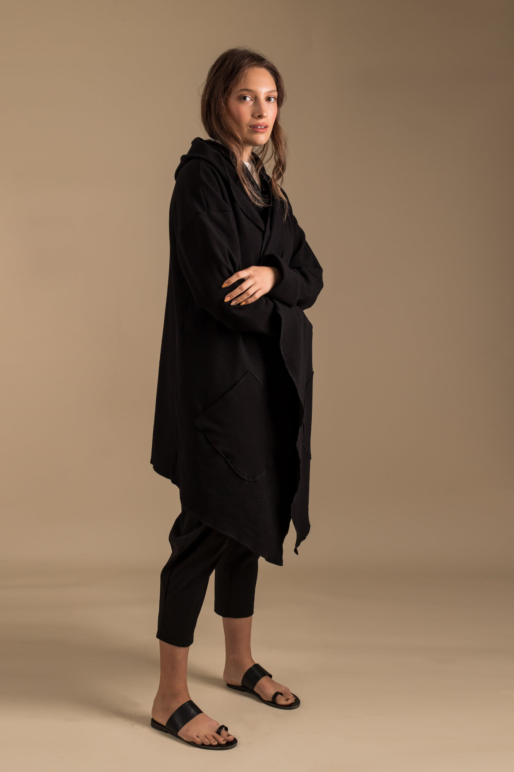 SQUARES Open Black Cardigan Jacket with a Hood
