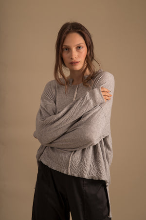 NAMI Asymmetric Grey Jumper Double Layered Top Oversize Fit
