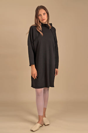 WAFFLE Wide Stand Collar Tunic Dress