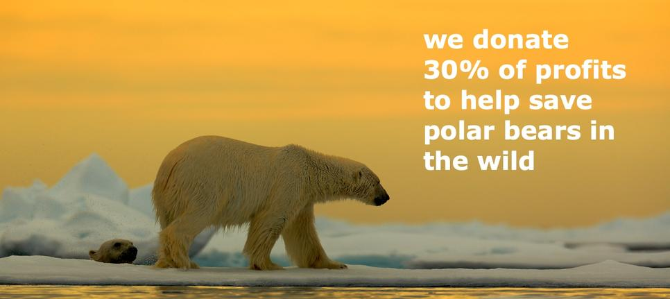 We donate 30% of profits to help save polar bears in the wild