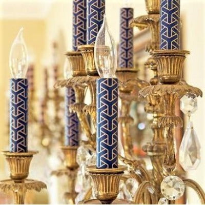 Designer Candle Sleeve - Navy Gold Y-Knot