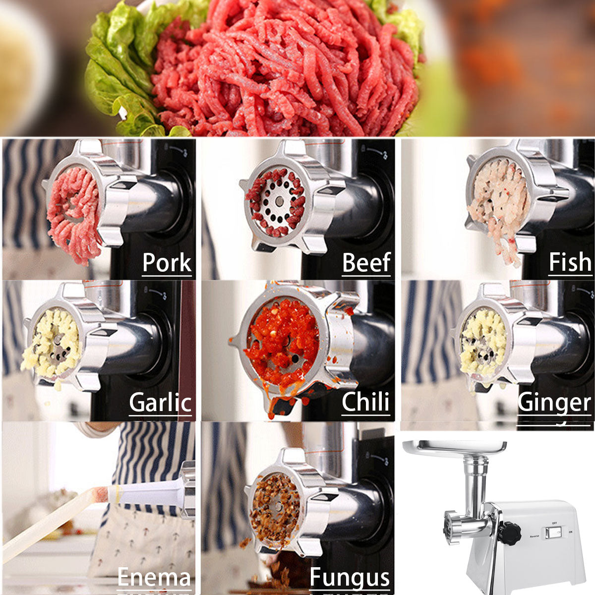 2800W 220V Powerful Stainless Steel Electric Meat Grinders - kitchen gadgetsandmore