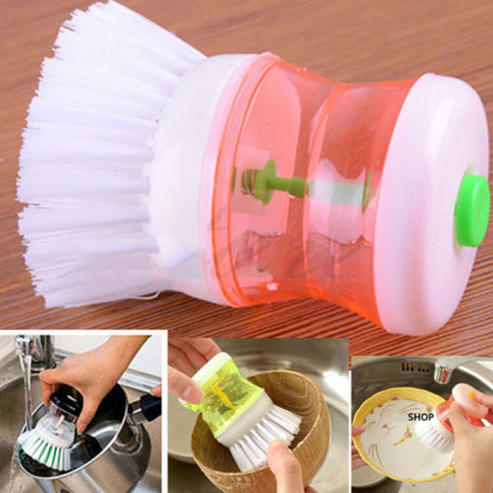 Best Selling  Kitchen Washing Utensils Pot Dish Brush With Washing Up Liquid Soap Dispenser - kitchen gadgetsandmore