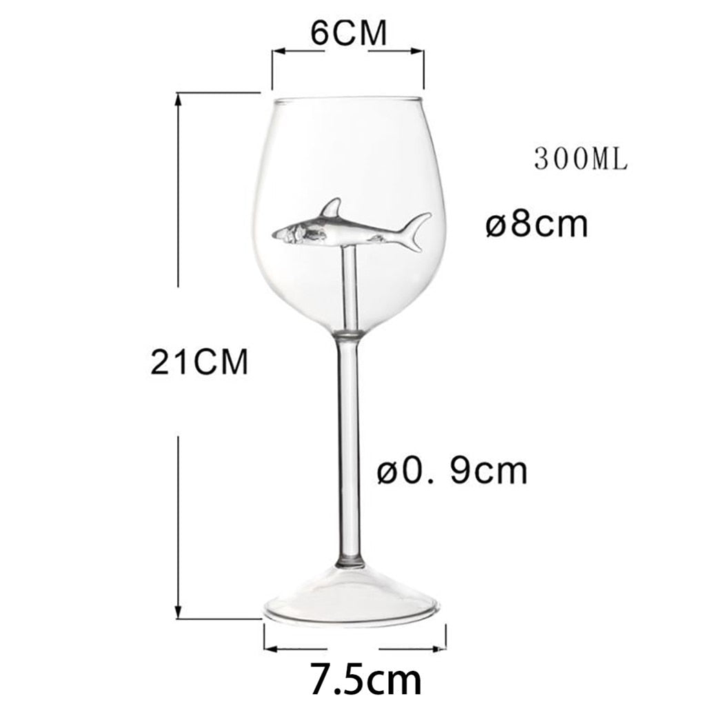 best selling  kitchen  accessories Shark Red Wine Glass Bottle Crystal Party Flute Perfect Gift - kitchen gadgetsandmore