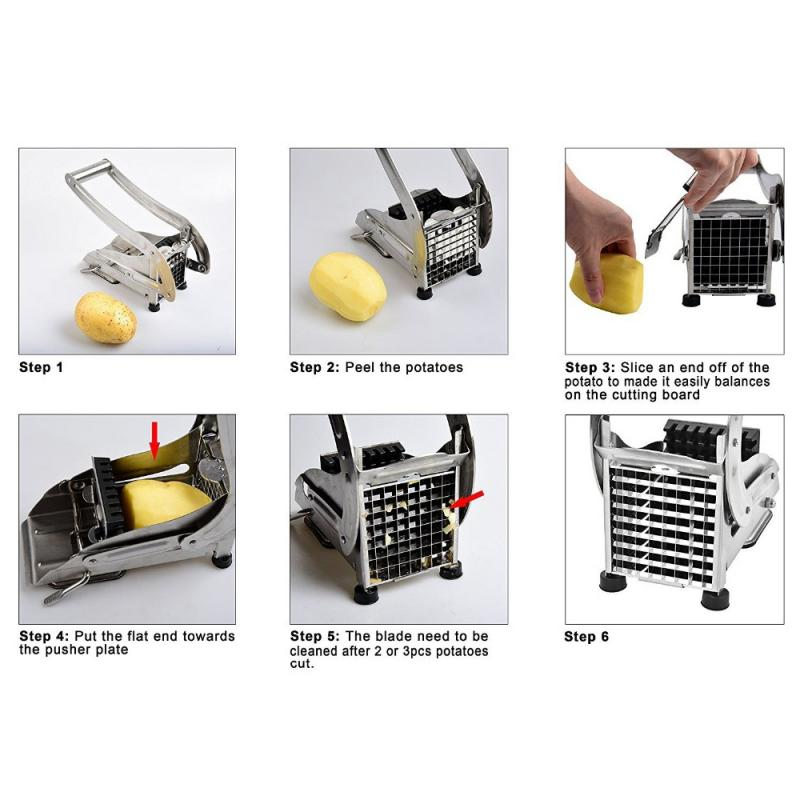 Potato Slicer French Fry Cutter With 2 Blades - kitchen gadgetsandmore