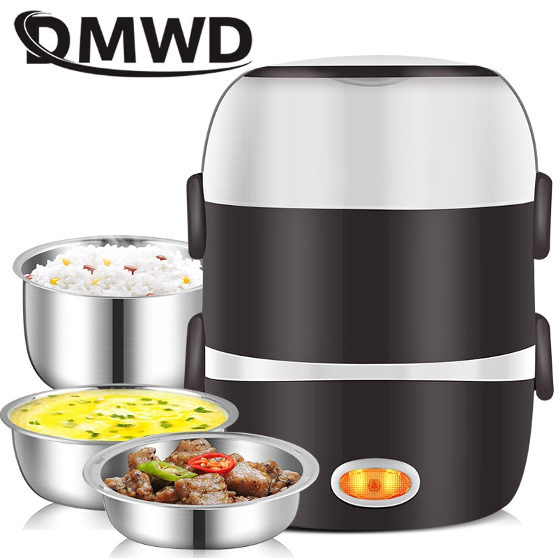 DMWD Mini Electric Rice Cooker Stainless Steel - kitchen gadgetsandmore