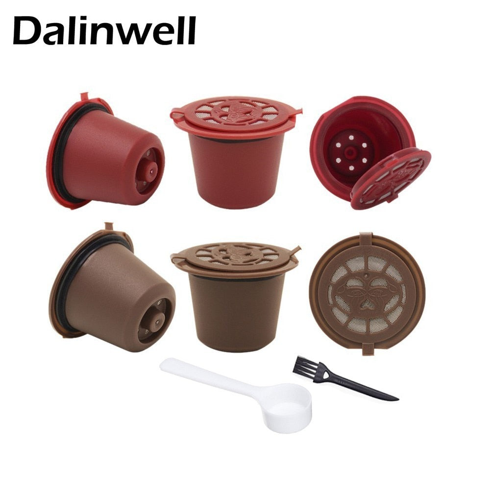 4PCS Coffee Filter 20ml Reusable Refillable Coffee Capsule Filters For Nespresso With Spoon Brush Kitchen Accessories - kitchen gadgetsandmore