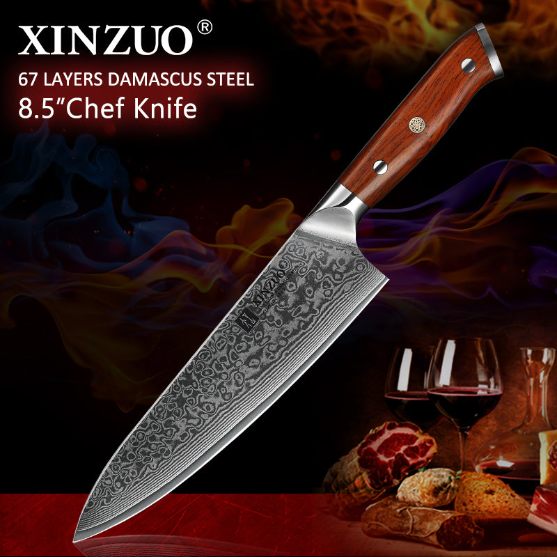 XINZUO 8.5 inch Chef Knives High Carbon VG10 Japanese 67layer Damascus Kitchen Knife Stainless Steel - kitchen gadgetsandmore