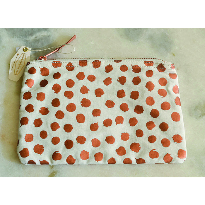 Gold Foil Dots Lined Cosmetic Pouch - VelvetCrate