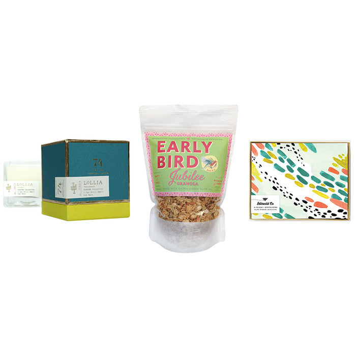 Birthday gift package | lollia candles | Early Bird Granola | Modern stationery for her