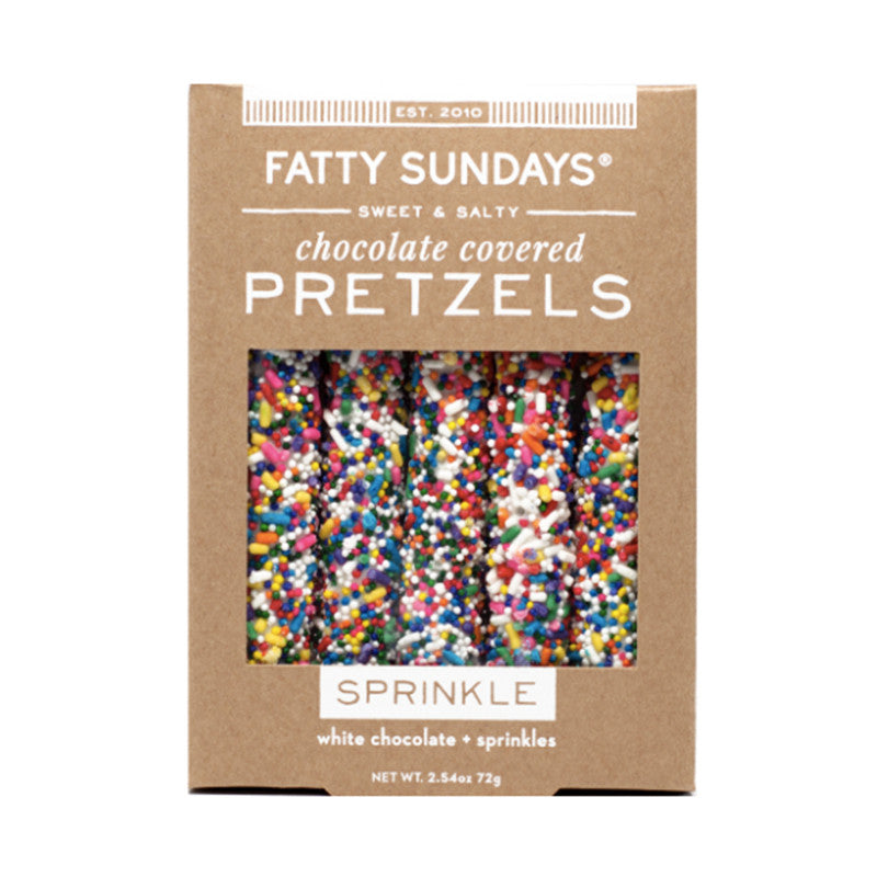 Fatty Sundays Sprinkle White Chocolate Covered Pretzels - VelvetCrate