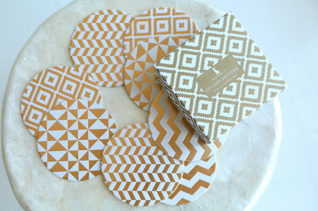 Reyn Paper Co. Golden Pattern Coaster Gift Set