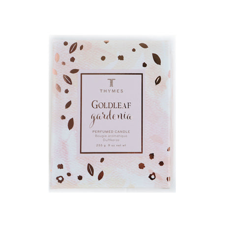Thymes Goldleaf Gardenia Candle - VelvetCrate