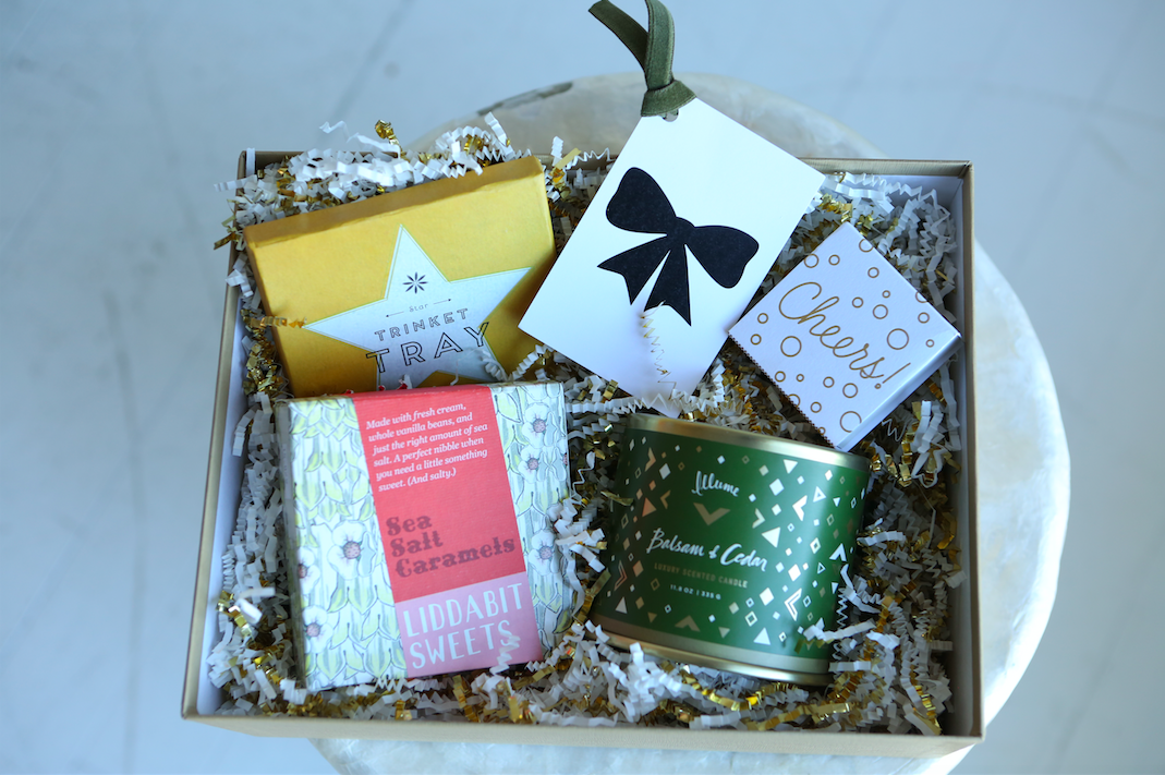 Holiday Gift Baskets for Her | Kansas City Gift Baskets | Corporate Holiday Gifts | Pretty Matchboxes | Sea Salt Caramels | Best Christmas Candles