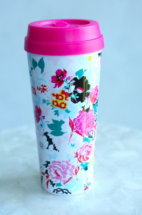 Pretty Coffee Tumbler for Her | Ban.do floral tumbler | Coffee mug gift | best gift basket for teens