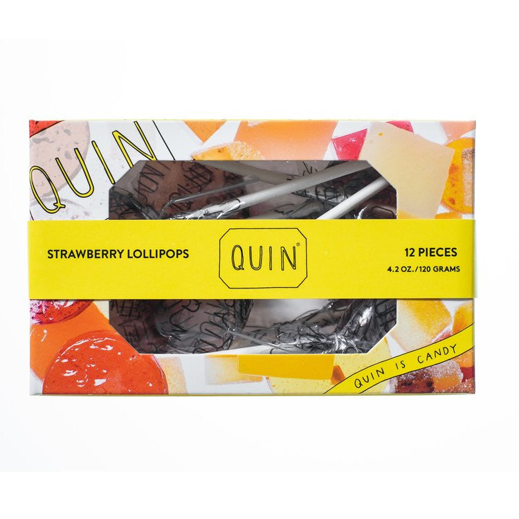 Quin Candy Strawberry Lollipops