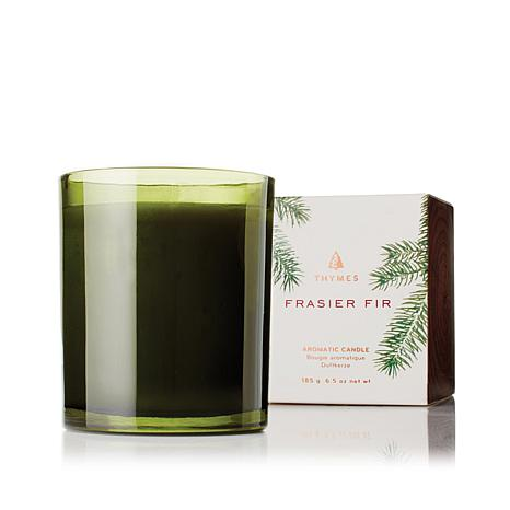 Thymes Frasier Fir Green Glass Poured Candle