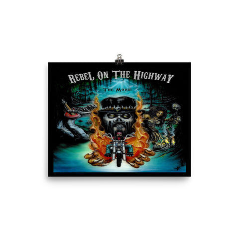 Rebel on the Highway Movie Cover Poster (Black)
