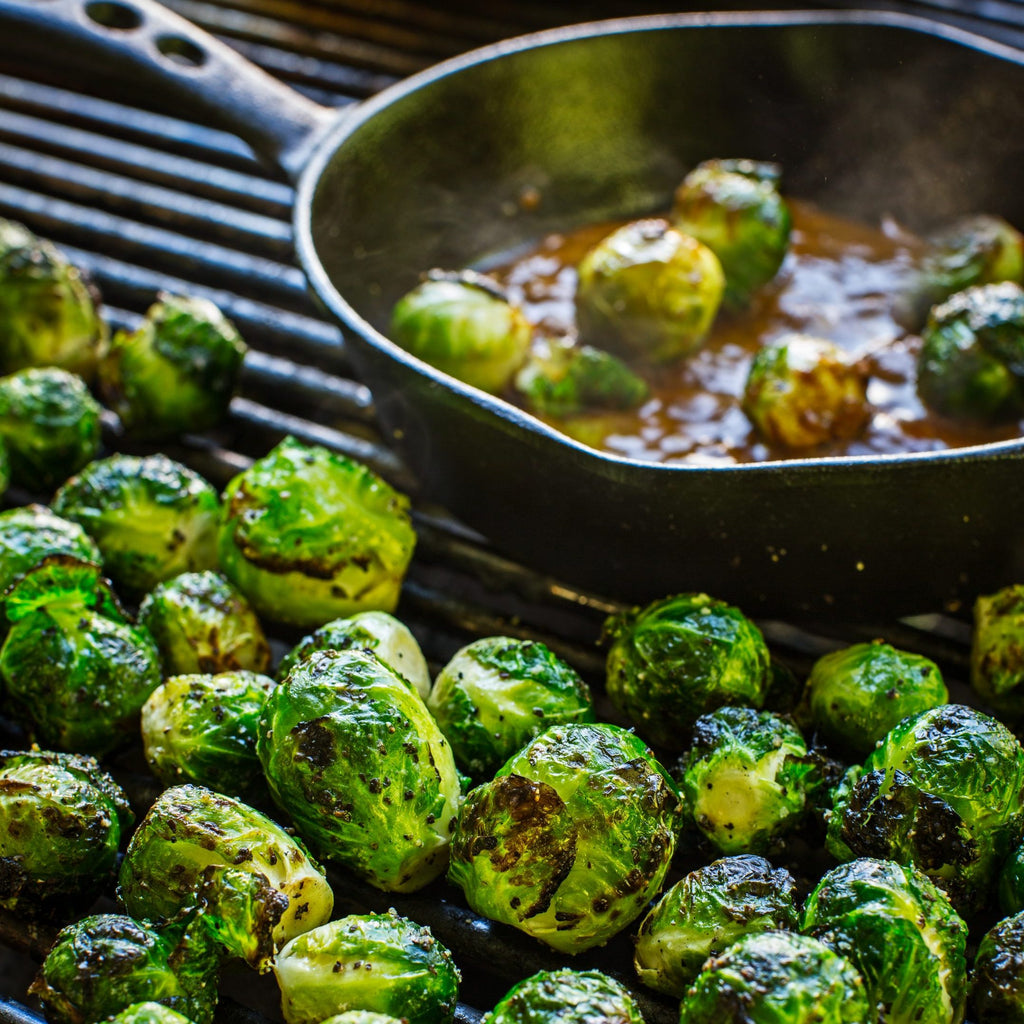 House of Q Grilled Brussels Sprouts with Warm Bacon and Mustard Vinaigrette