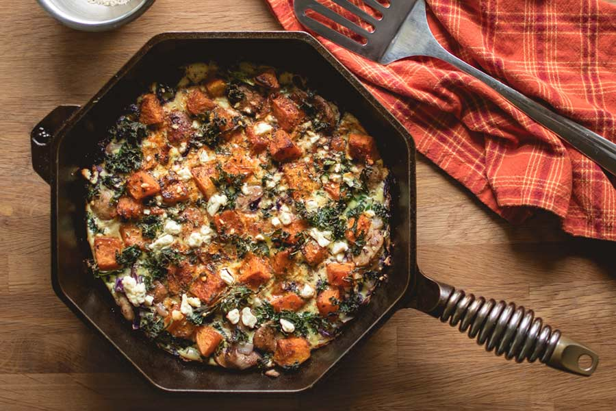Finex & Traeger Roasted Butternut Squash Frittata with Sausage, Kale & Feta