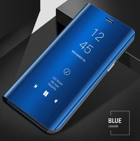 Vivo V17 Pro Clear View Smart Mirror Flip Case [Non-Sensor] + Free 9D Tempered Glass