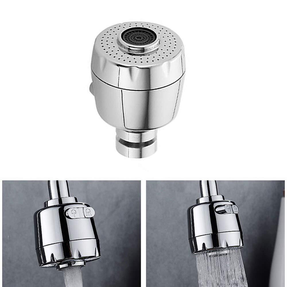 Stainless Steel 360 Degree Rotation Bubbler Saving Water Faucet/tap, Filter Shower Head Nozzle Adapter, Silver, Chrome Finish
