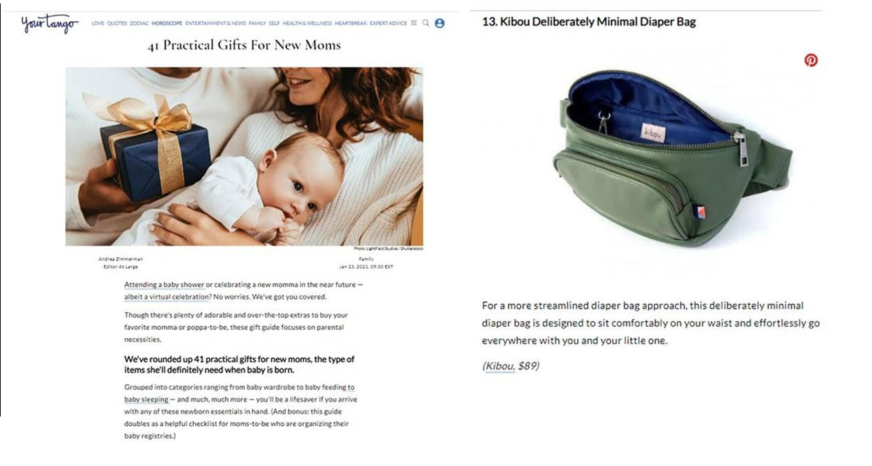 Kibou Your Tango 41 practical gifts for new moms