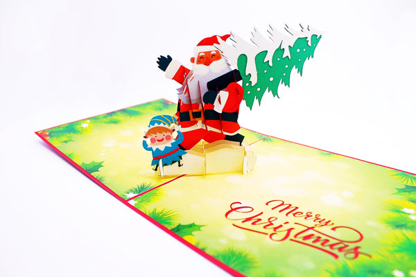 Santa Claus in the forest 3D Card