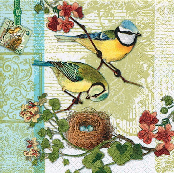 Two Birds and Nest 33 X 33 cm