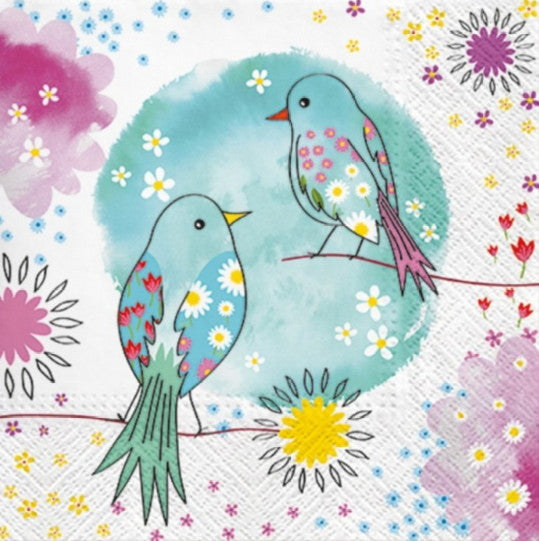 Two Birds with Watercolor Background 33 X 33 cm