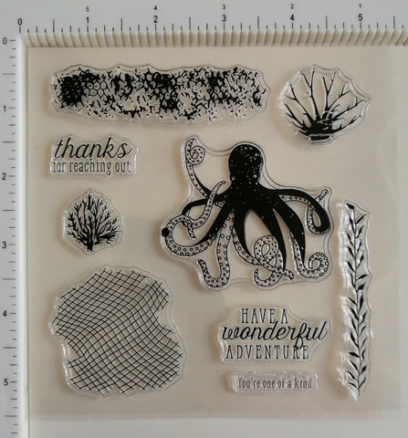 Clear Stamp - Coral 5.5 X 5.5 Inches, 9 Pieces