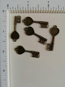Metal Charms - Key Big, 5 Pcs