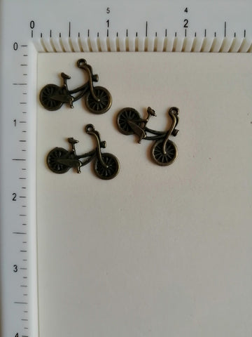 Metal Charms - Cycle Small, 3 Pieces