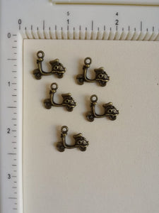 Metal Charms - Scooter, 5 Pcs