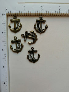 Metal Charms - Anchor, 5 Pieces