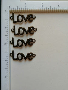 Metal Charms - Love, 5 Pieces