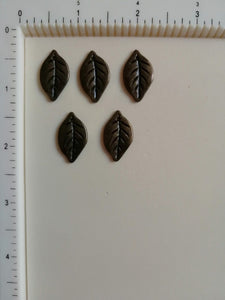 Metal Charms - Leaf, 5 Pieces