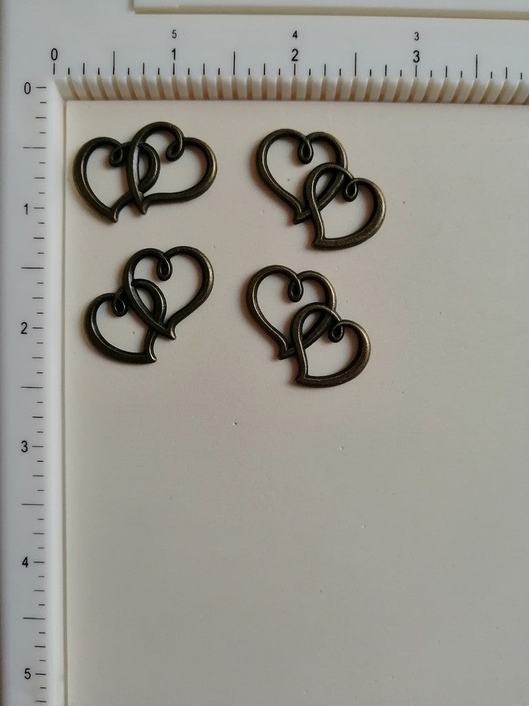 Metal Charms - 2 Hearts, 4 Pieces