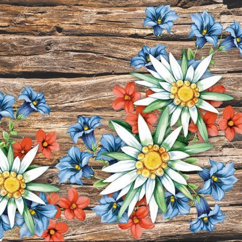 Flowers with Wooden Background 33 X 33 cm