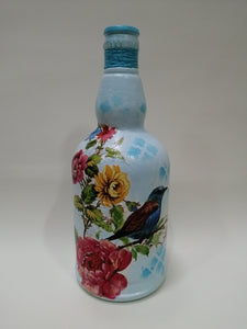 Decoupaged Bottle Round - Blue